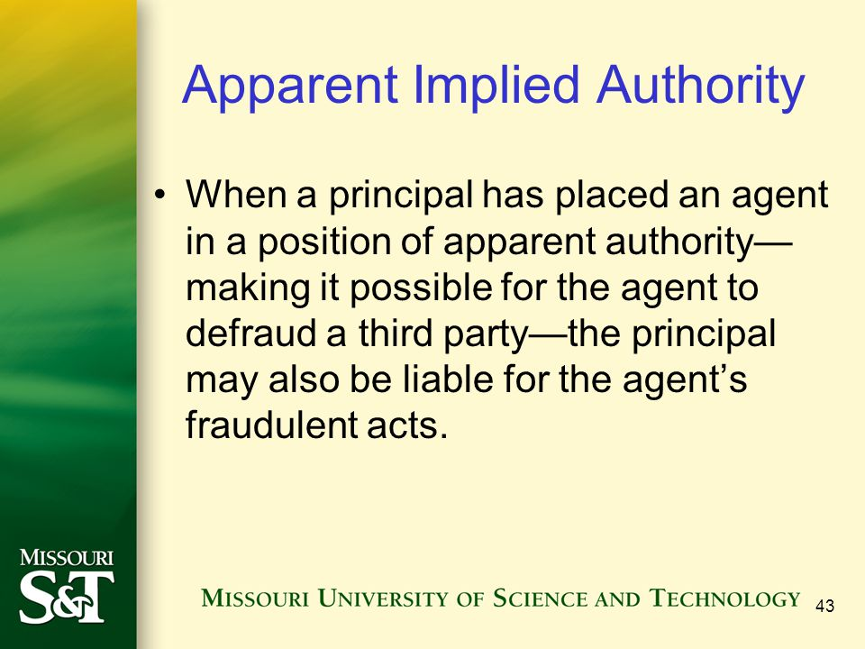 Apparent Implied Authority