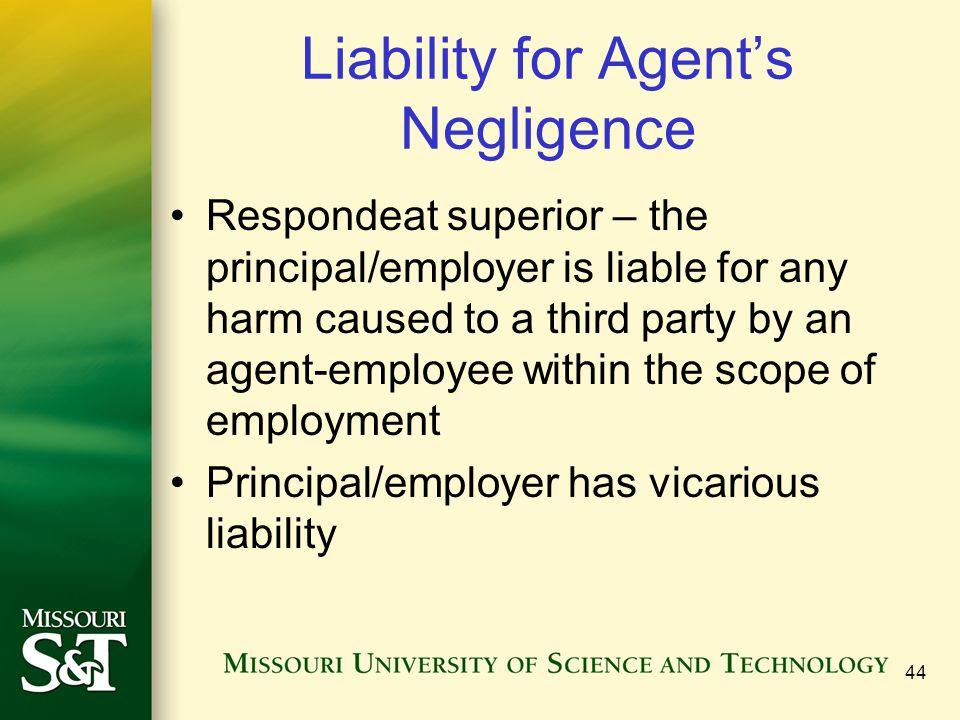 Liability for Agent's Negligence