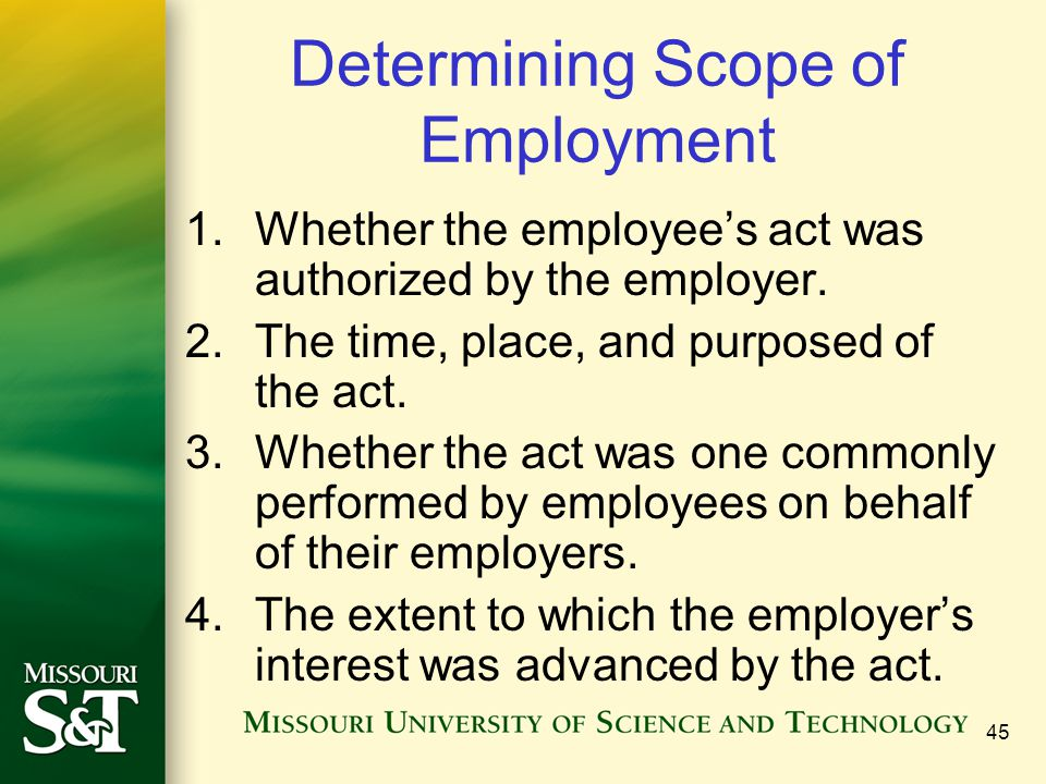 Determining Scope of Employment