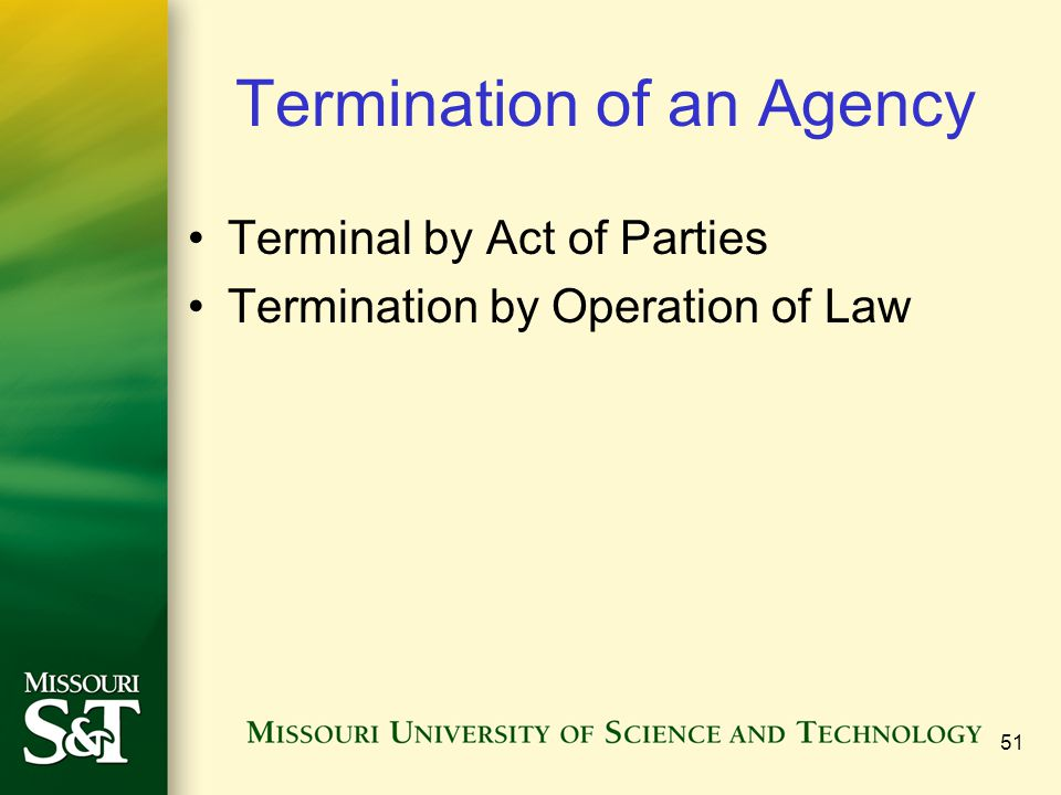 Termination of an Agency