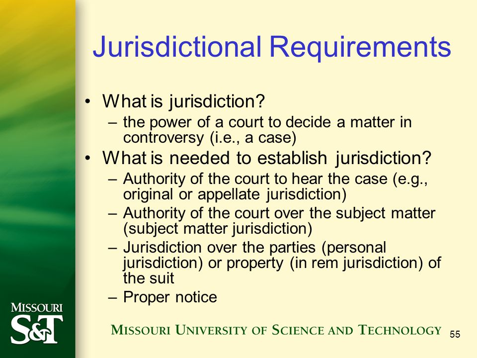 Jurisdictional Requirements