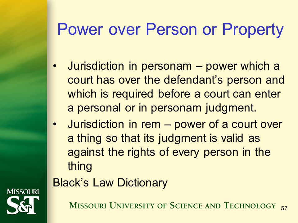 Power over Person or Property