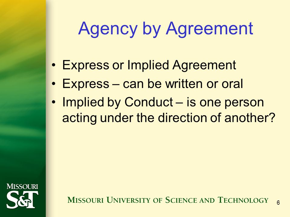 Agency by Agreement Express or Implied Agreement