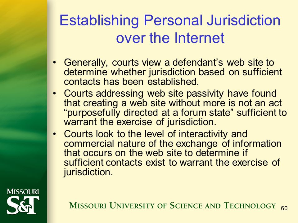 Establishing Personal Jurisdiction over the Internet