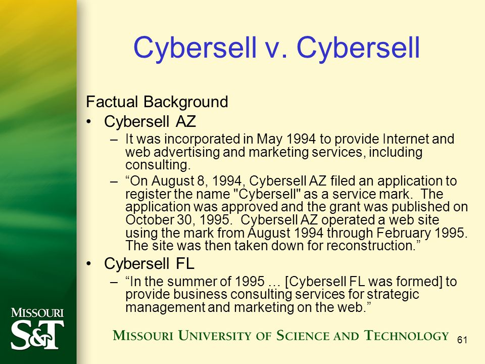 Cybersell v. Cybersell Factual Background Cybersell AZ Cybersell FL