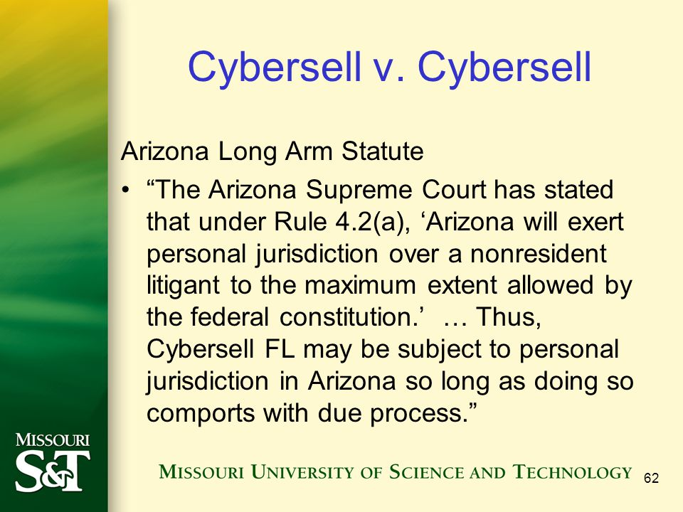 Cybersell v. Cybersell Arizona Long Arm Statute