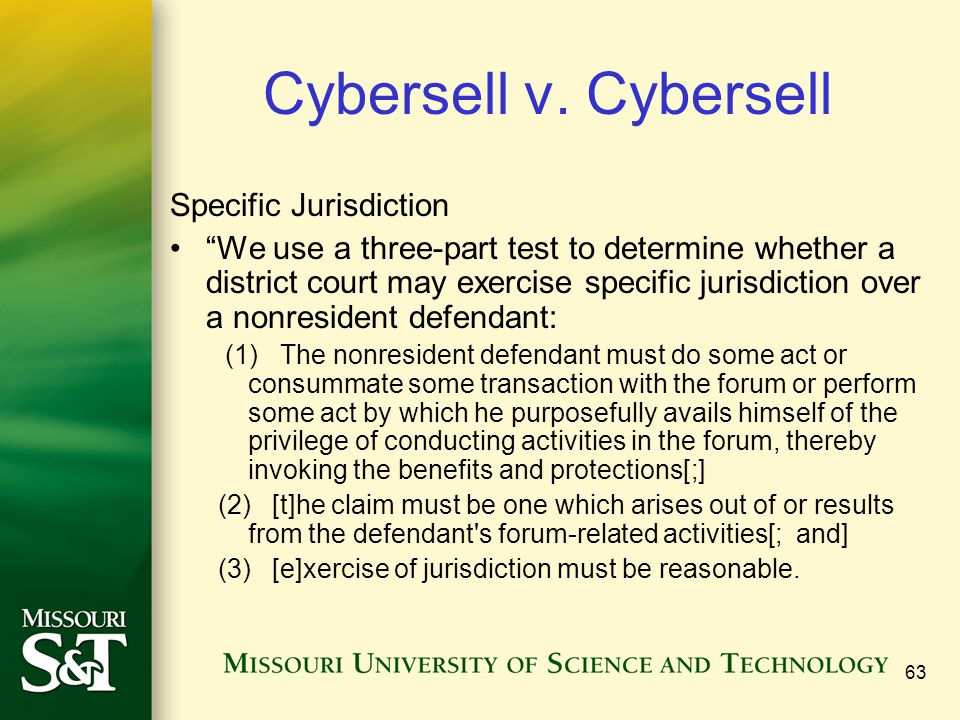 Cybersell v. Cybersell Specific Jurisdiction