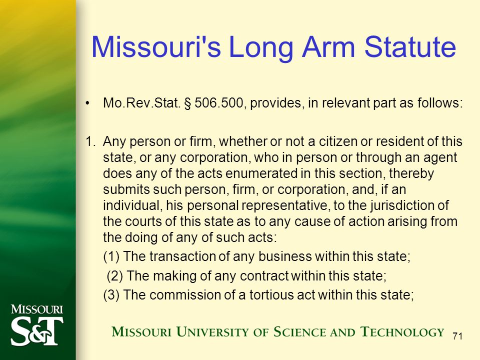 Missouri s Long Arm Statute