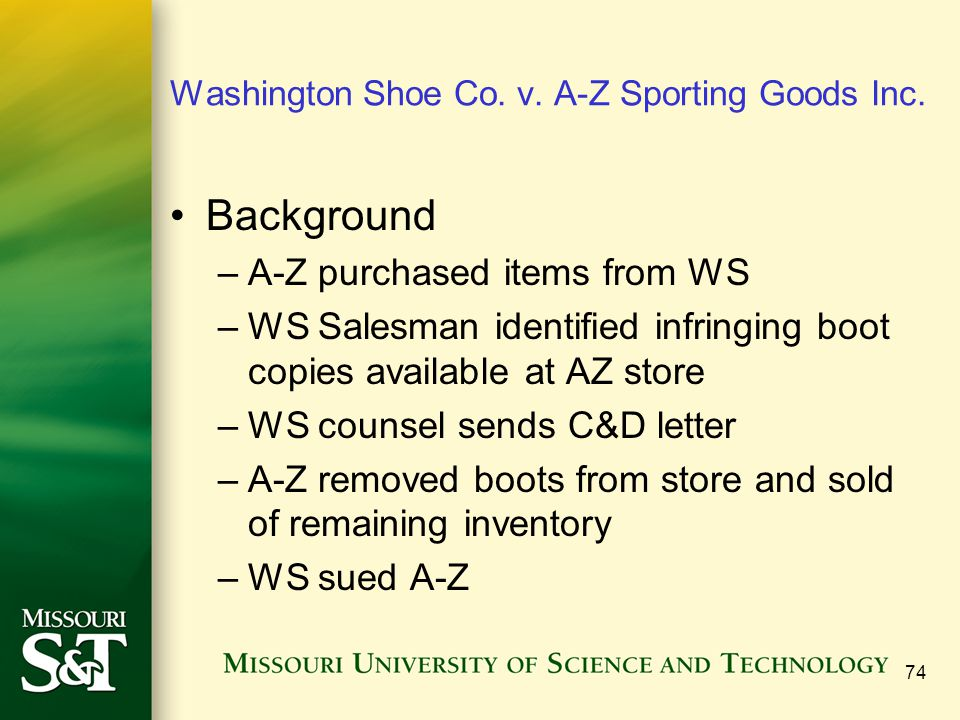 Washington Shoe Co. v. A-Z Sporting Goods Inc.