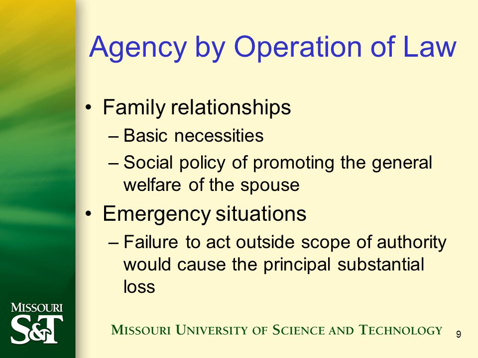 Agency by Operation of Law