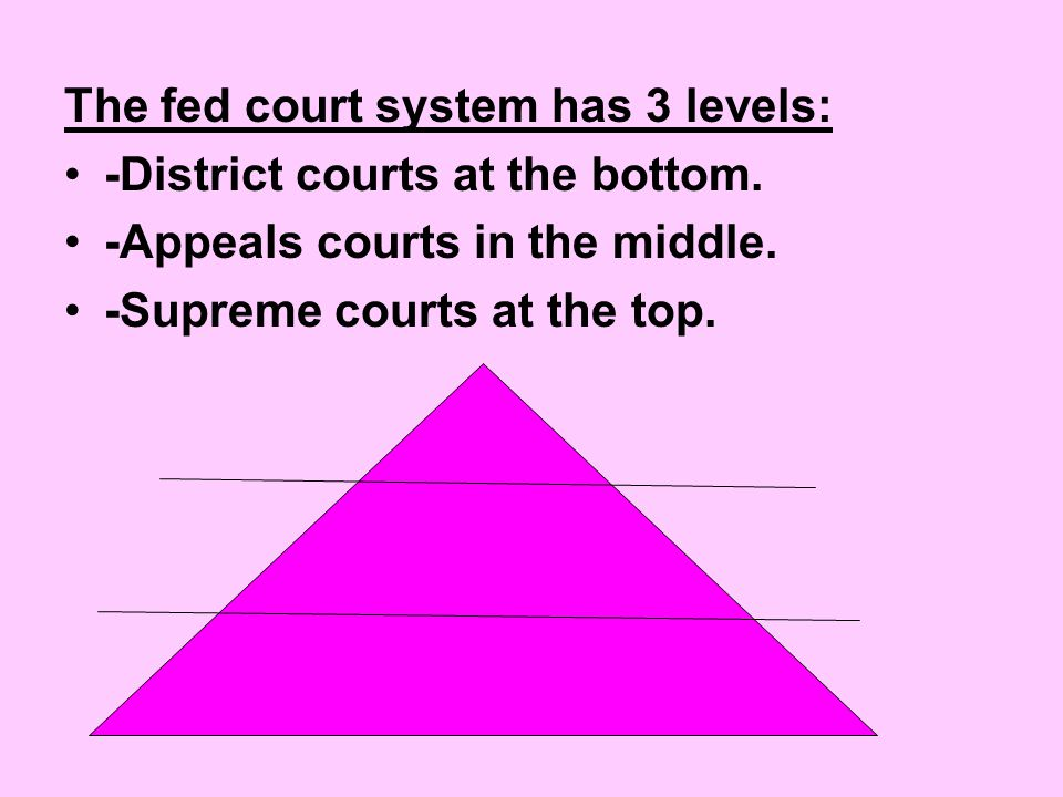 The fed court system has 3 levels: