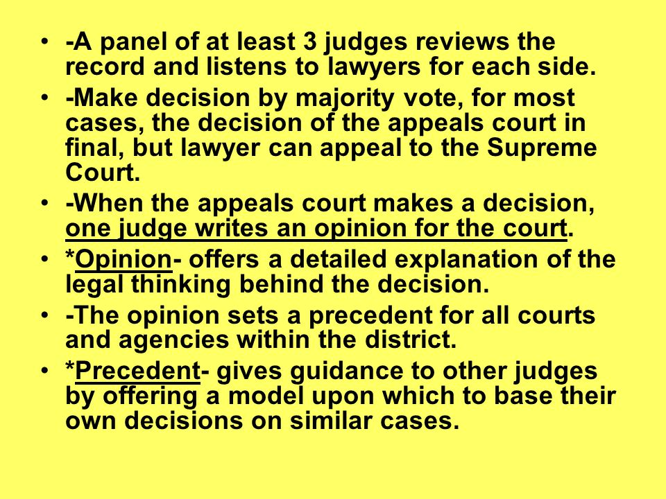 -A panel of at least 3 judges reviews the record and listens to lawyers for each side.