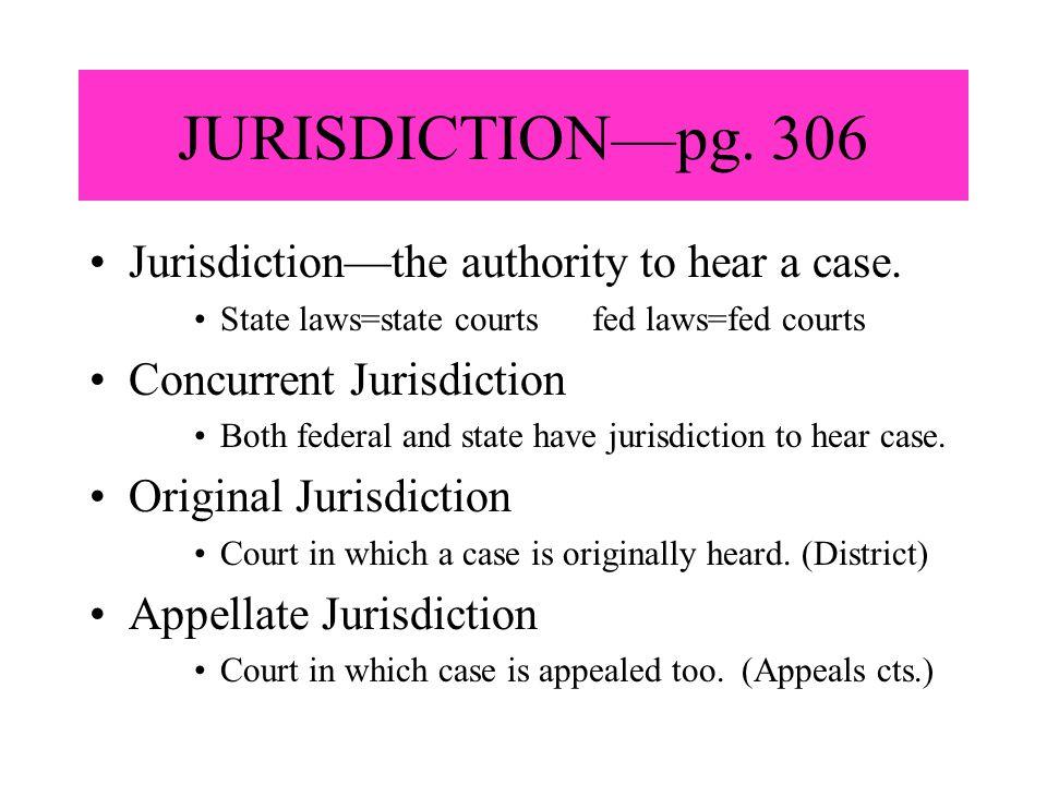 JURISDICTION—pg. 306 Jurisdiction—the authority to hear a case.