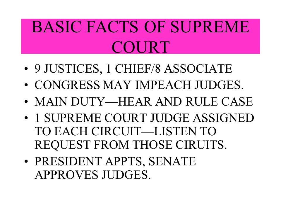 BASIC FACTS OF SUPREME COURT