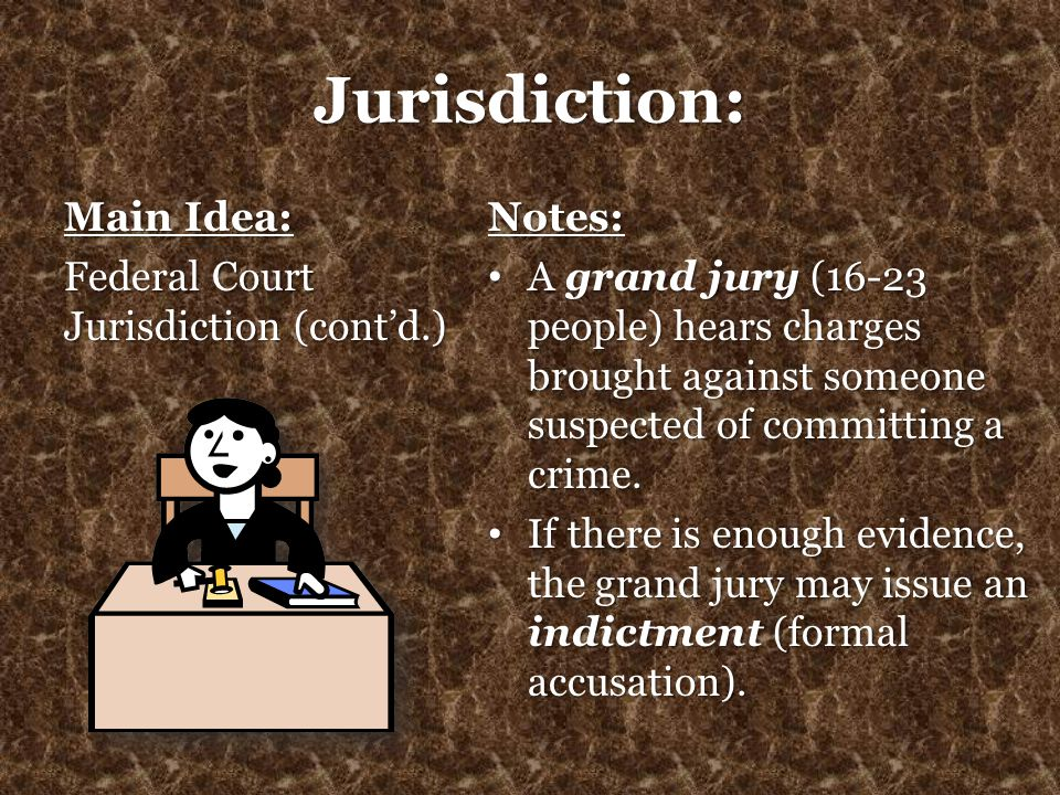 Jurisdiction: Main Idea: Federal Court Jurisdiction (cont'd.) Notes: