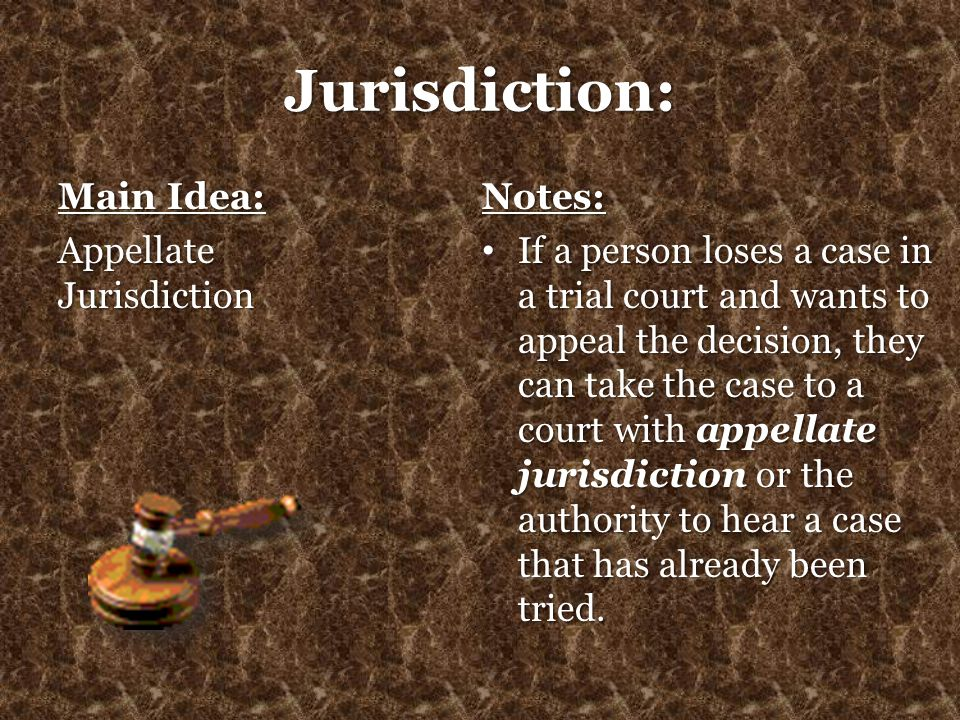 Jurisdiction: Main Idea: Appellate Jurisdiction Notes: