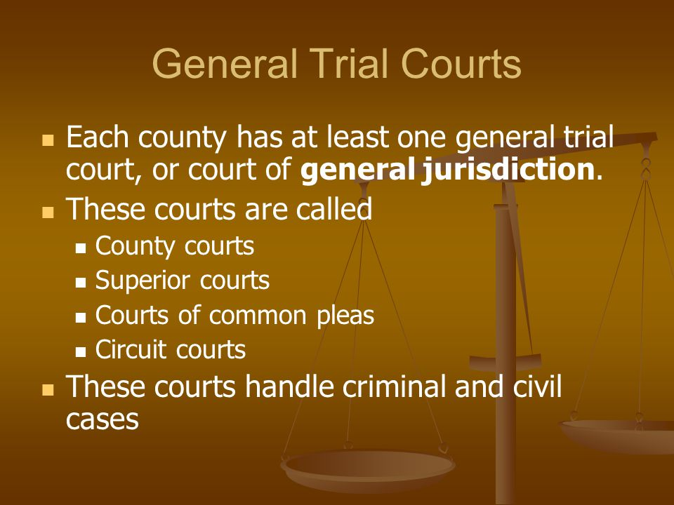 General Trial Courts Each county has at least one general trial court, or court of general jurisdiction.