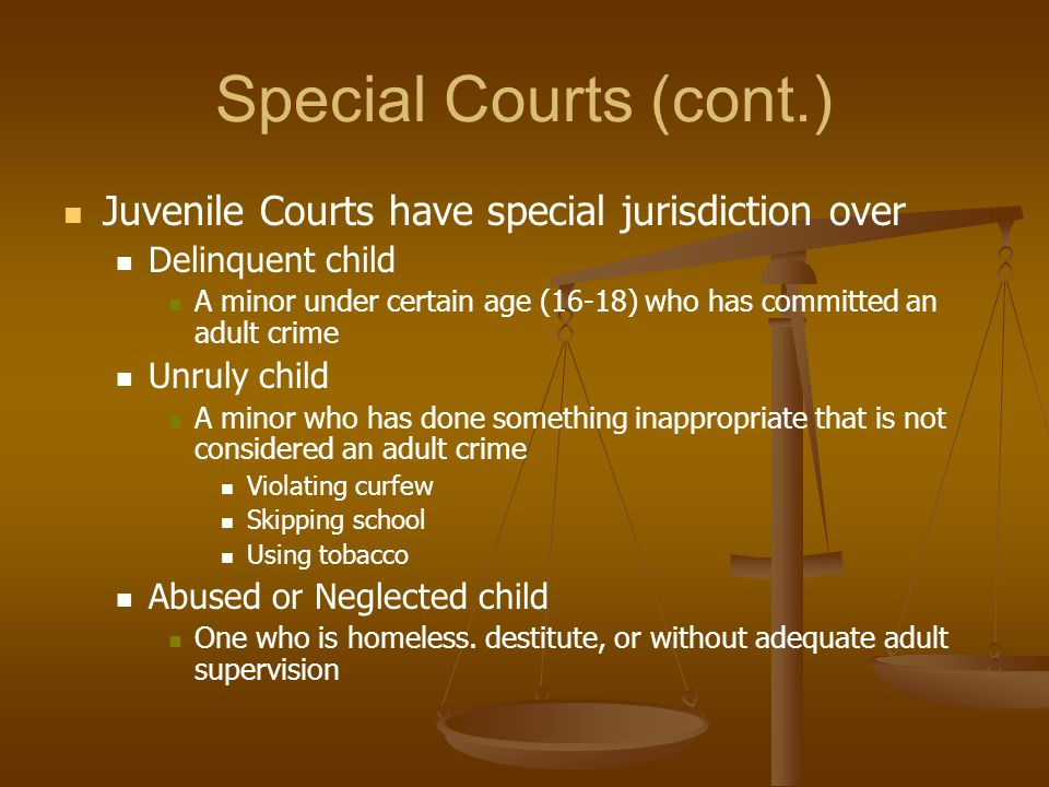 Special Courts (cont.) Juvenile Courts have special jurisdiction over