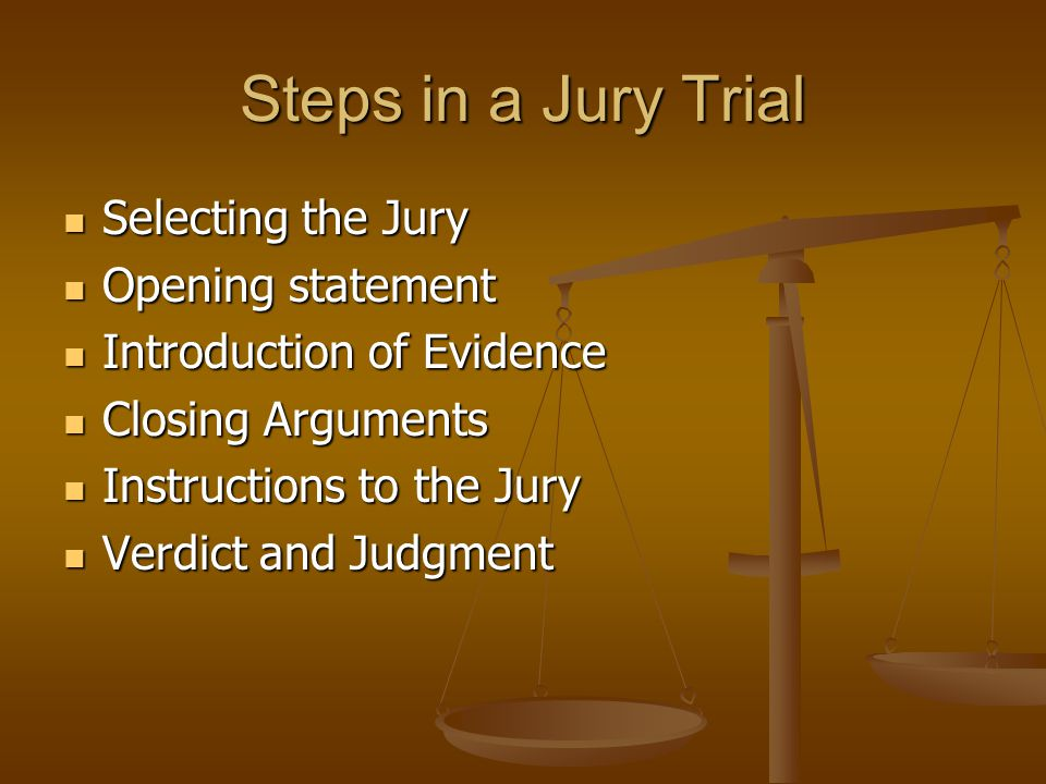 Steps in a Jury Trial Selecting the Jury Opening statement