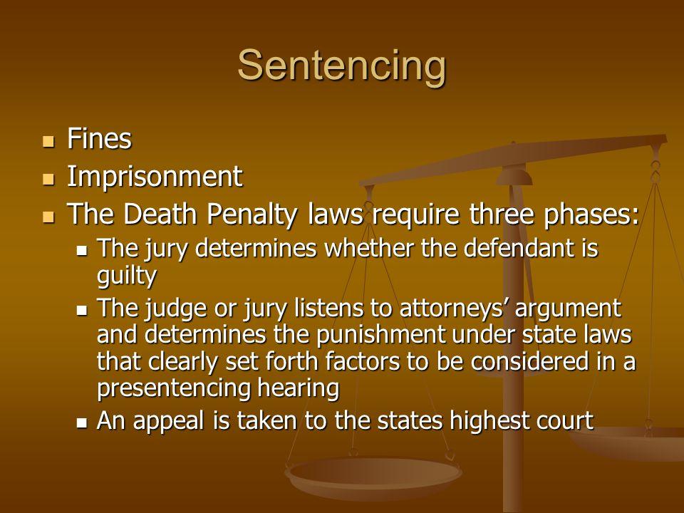 Sentencing Fines Imprisonment