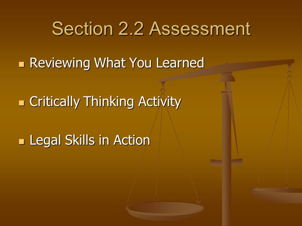 Section 2.2 Assessment Reviewing What You Learned