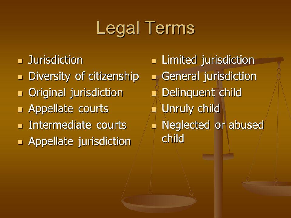 Legal Terms Jurisdiction Diversity of citizenship