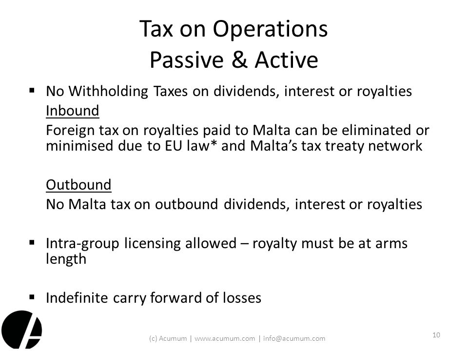 Tax on Operations Passive & Active