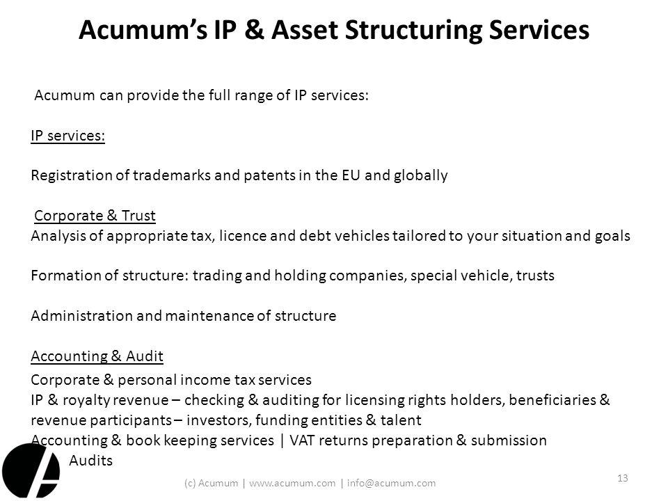 Acumum's IP & Asset Structuring Services