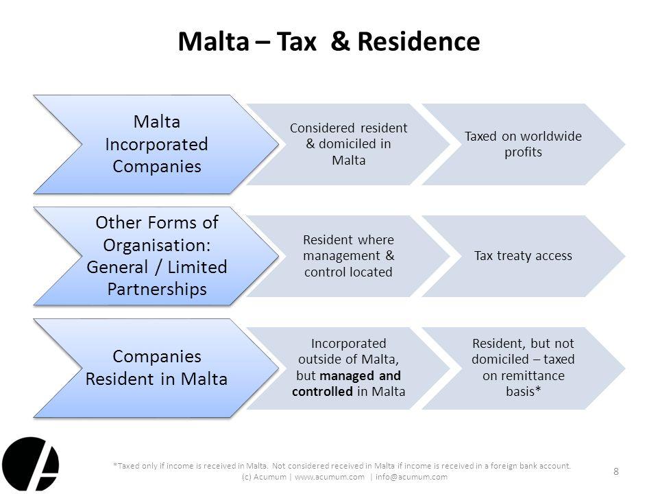 Malta – Tax & Residence Malta Incorporated Companies