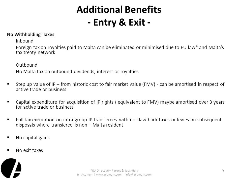 Additional Benefits - Entry & Exit -