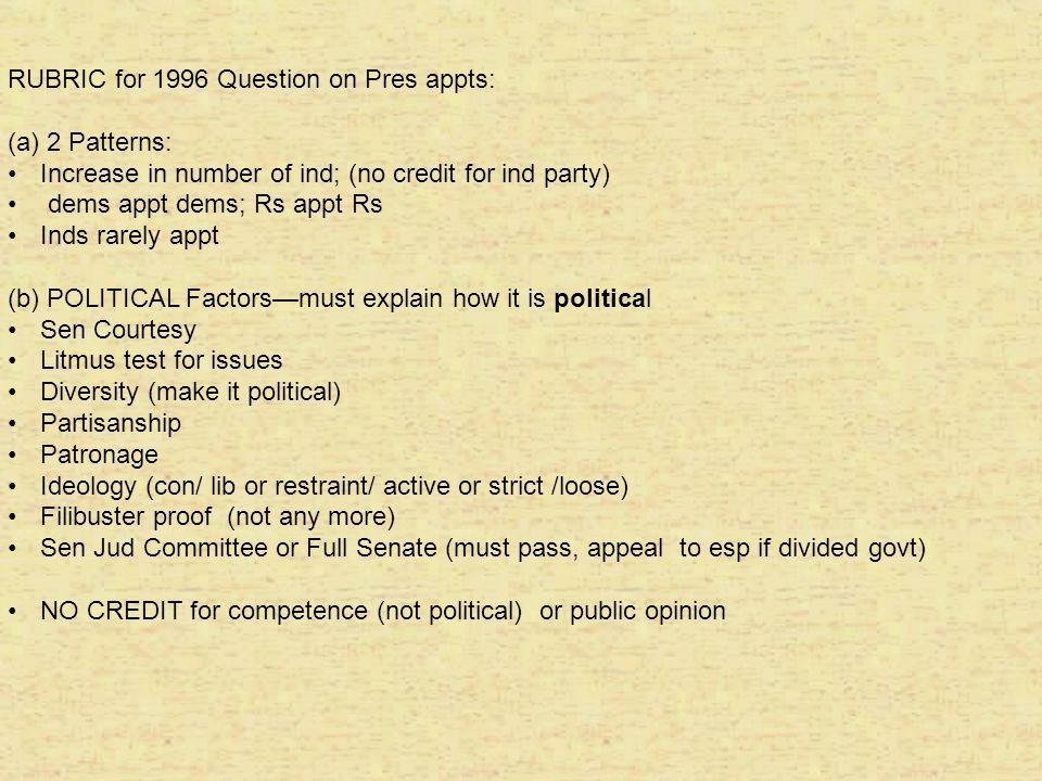RUBRIC for 1996 Question on Pres appts: