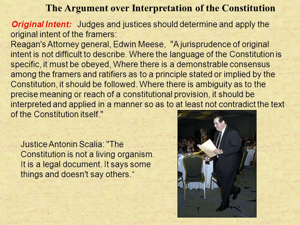 The Argument over Interpretation of the Constitution