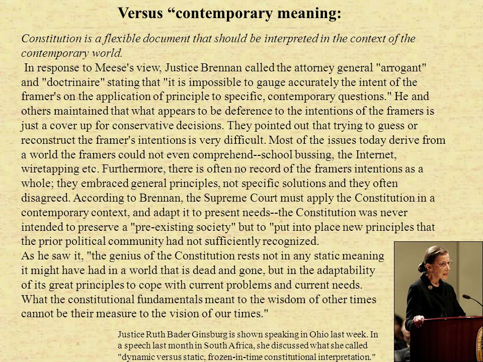 Versus contemporary meaning:
