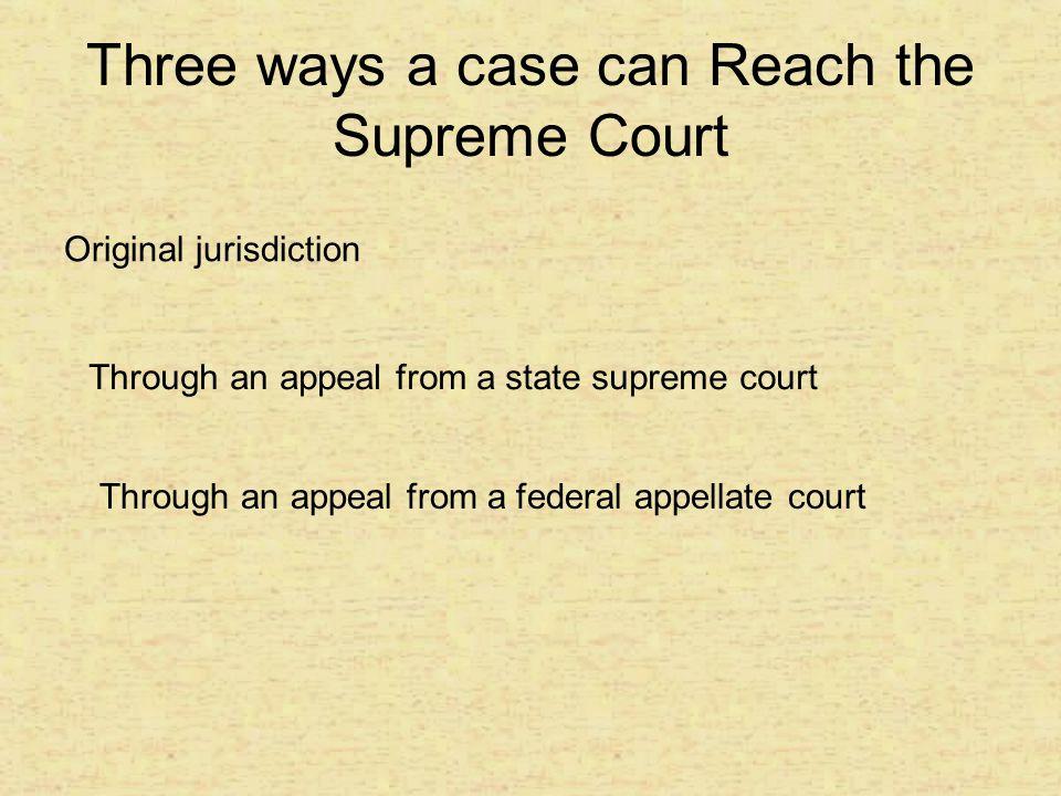 Three ways a case can Reach the Supreme Court