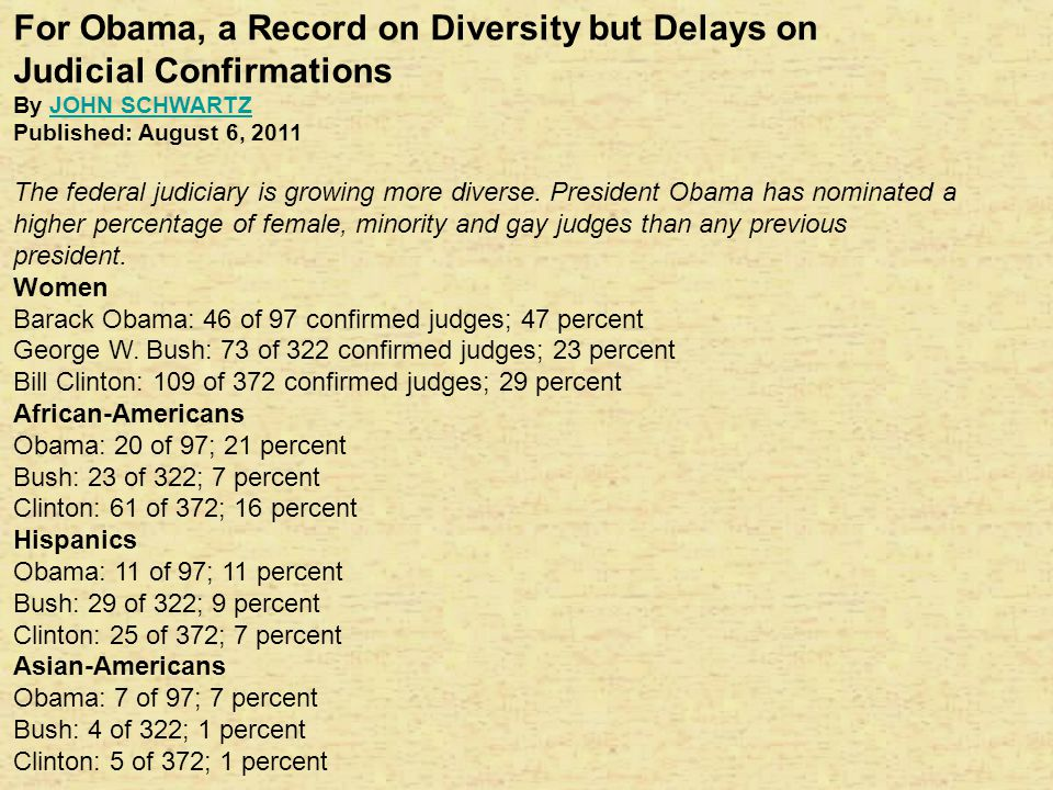 For Obama, a Record on Diversity but Delays on Judicial Confirmations