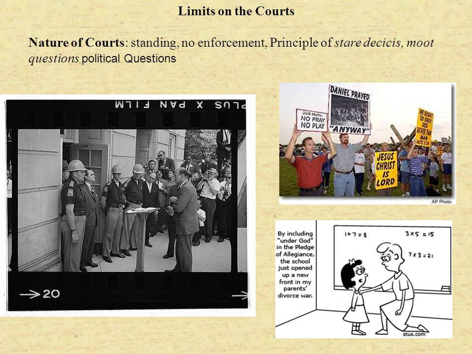 Limits on the Courts Nature of Courts: standing, no enforcement, Principle of stare decicis, moot questions, political Questions.