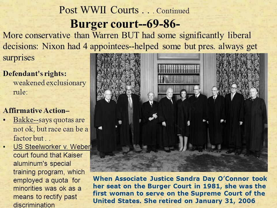 Post WWII Courts . . . Continued