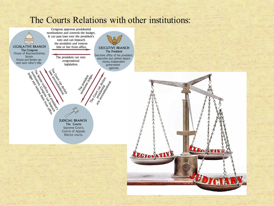 The Courts Relations with other institutions: