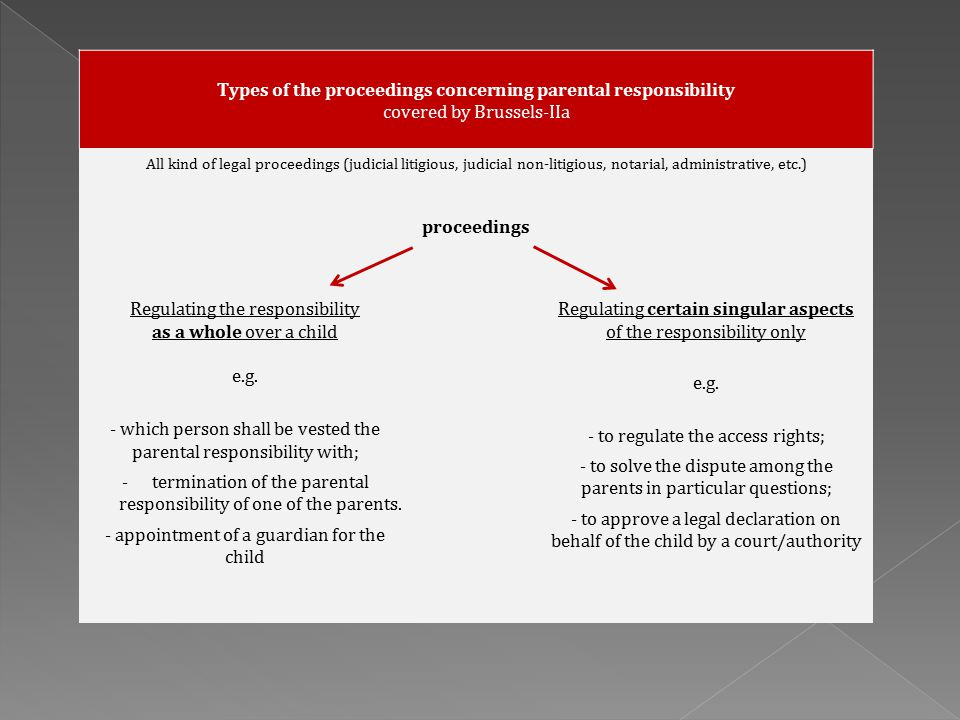 Types of the proceedings concerning parental responsibility