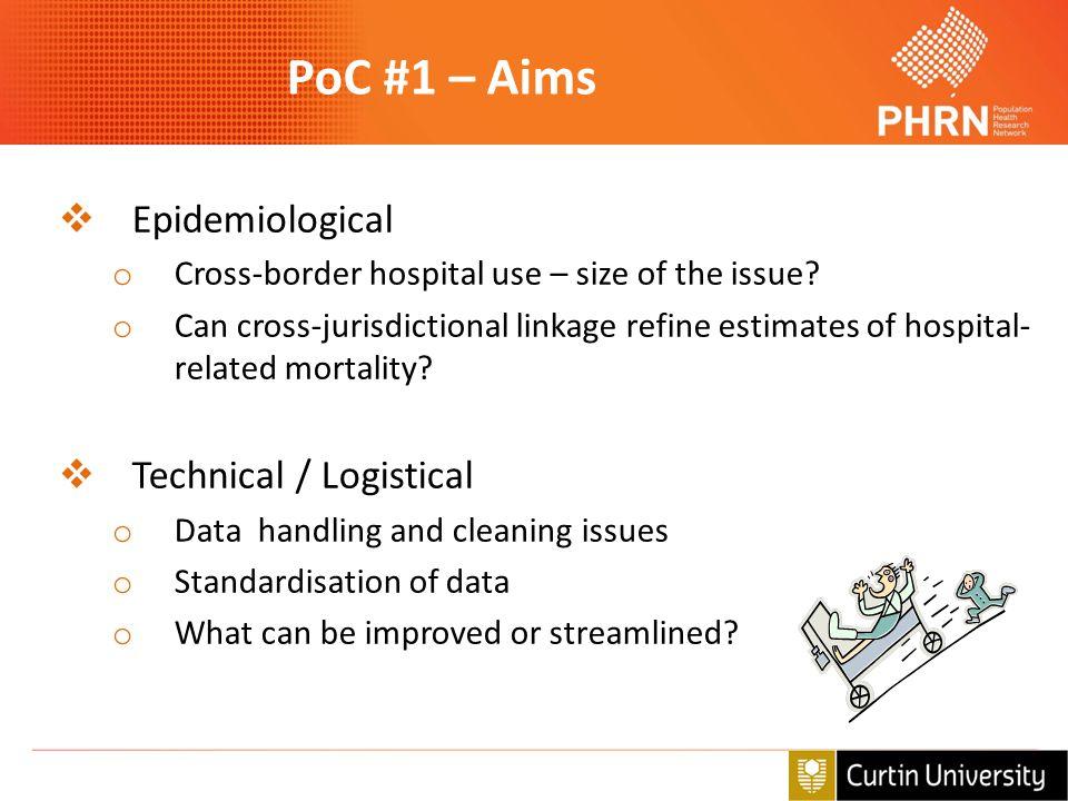 PoC #1 – Aims Epidemiological Technical / Logistical