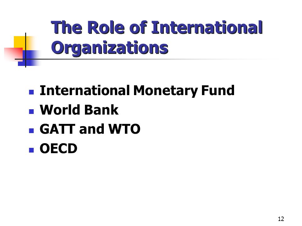 The Role of International Organizations