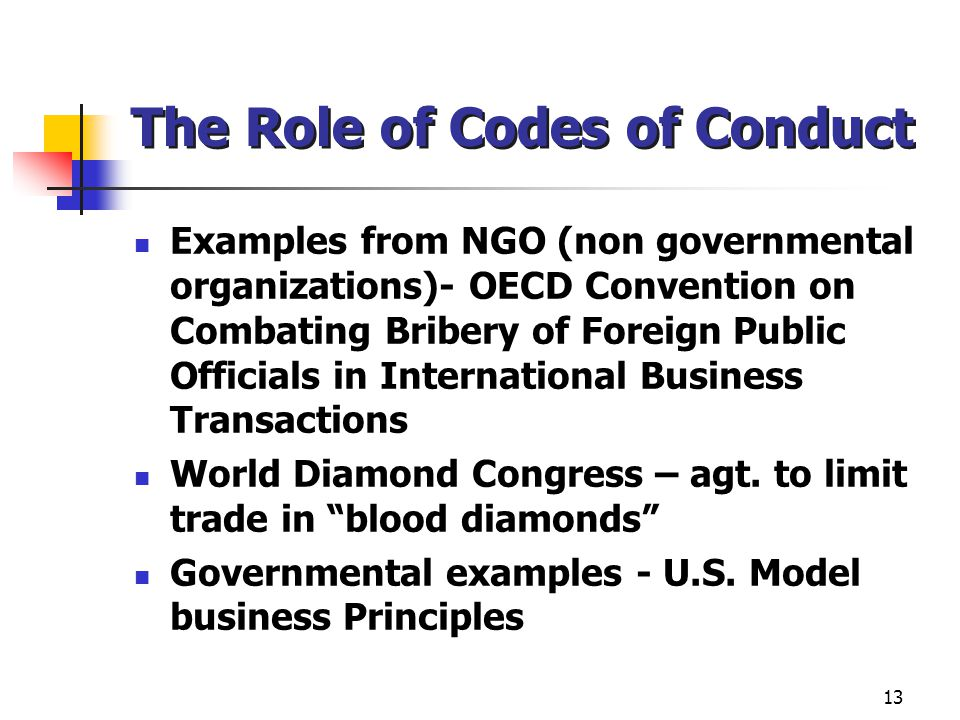 The Role of Codes of Conduct