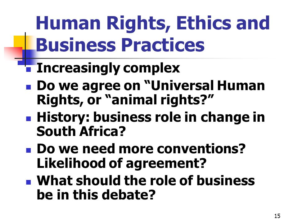 Human Rights, Ethics and Business Practices