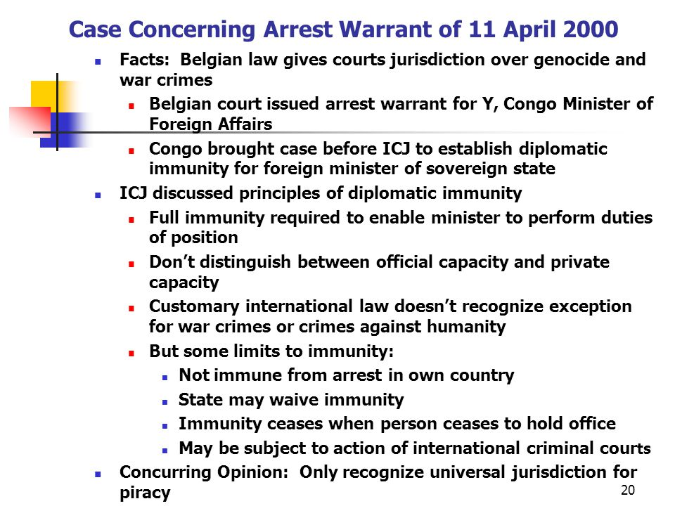 Case Concerning Arrest Warrant of 11 April 2000