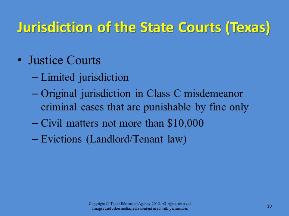 Jurisdiction of the State Courts (Texas)