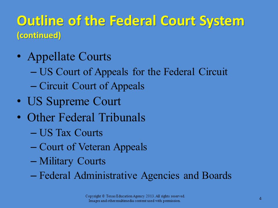 Outline of the Federal Court System (continued)