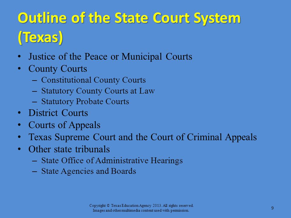 Outline of the State Court System (Texas)