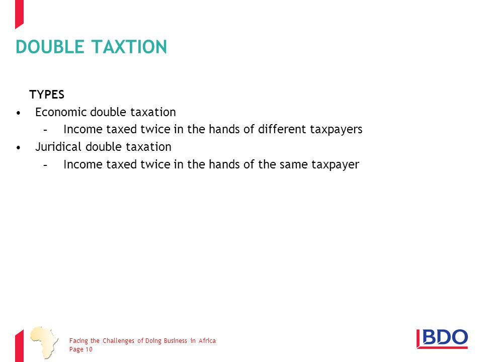 DOUBLE TAXTION TYPES Economic double taxation