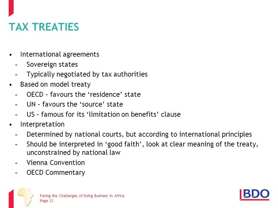 TAX TREATIES International agreements Sovereign states