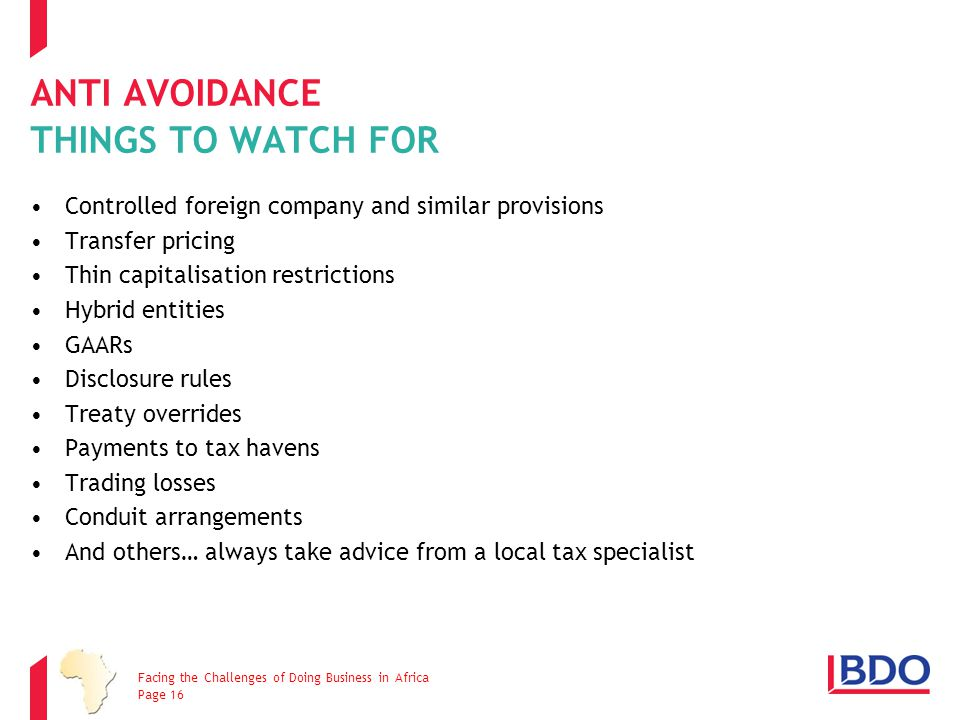 ANTI AVOIDANCE THINGS TO WATCH FOR